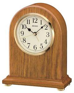 Seiko Wooden Oak Quartz Mantle Clock with Clear Arabic Dial and Alarm QXE031B