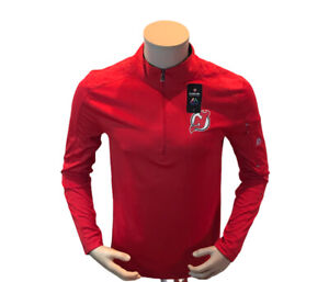 Majestic NHL New Jersey Devils 1/4 Zip Red Pullover Reflective Size Small