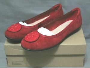 COLLECTION BY CLARKS womens red suede flat Gracelin shoe sizes 8.5 W & 5.5 M NEW