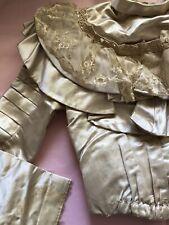 Antique Edwardian Victorian Wedding Gown Ensemble Silk Satin Ivory Xs 1900