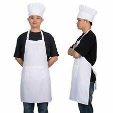 Adjustable Bib Chef Apron Set Chef Hat and Kitchen Apron Adult White Apron