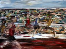 "Prophetic Art ""Running the Race"" Track Runners Acrylic Painting on LARGE Canvas"