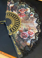 New listing Cloth Floral Black Lace Edge Fan W/ Plastic Frame & Gold Design On The Edges!