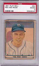 1941 Play Ball Pee Wee Reese #54, Rookie. HOF, PSA GOOD 2, Dodgers