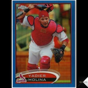 2012 TOPPS CHROME BLUE REFRACTOR #97 YADIER MOLINA /199 St. Louis Cardinals