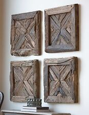 FOUR FARMHOUSE RECLAIMED RUSTIC PINE WOOD WALL PANELS SHUTTER LOOK WALL ART