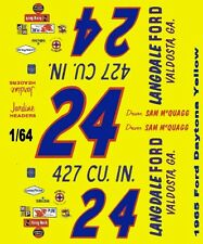#24 Sam McQuagg Langdale Ford 1965 1/64th Ho Scale Slot Car Waterslide Decals
