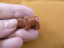 Y-Rhi-516) little orange Rhinoceros I love little Rhino Rhinos gemstone Figurine