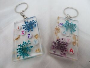Personalised name resin Keyring /bag charm, Up To 7 letters