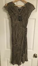 Alfani Silk Dress Wrap style size 4~Cement/Multi (taupe/brown) NWT New w/tags