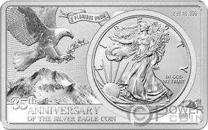 SILVER EAGLE 35th Anniversary 2 Oz Bar incl. 1 Oz Silver Coin 1$ USA 2021