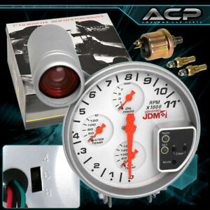 For Dodge Jeep Sport 4 In 1 RPM Tachometer Racing Gauge w/ Shift Light White Kit