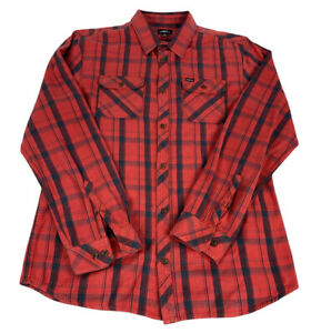 O'Neill Mens Long Sleeve Button Front Lodge Shirt Size XL Red Black Plaid