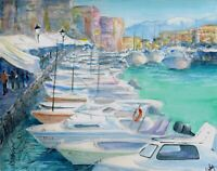 """Chania"" ORIGINAL signed watercolor painting Marina Harbor boats Greece Hania"