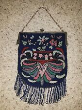 LRG ANTIQUE MICRO BEADED FLORAL CHERRIES PURSE ART NOUVEAU FLAPPER BAG BELGIUM