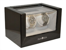 Pangaea Dual Motor Double 2 Automatic Watch Winder Wood Case Storage Piano Black