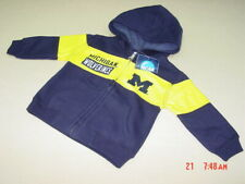 Nwt Infant Boys U of M Hooded Zippered Sweatshirt Wolverines Michigan Ann Arbor