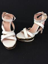 Stuart Weitzman Soundtrack White Patent LTHR Platform Sandals Size 9M  D1588/