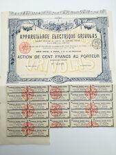 Action et titre APPAREILLAGE ELECTRIQUE GRIVOLAS 1896