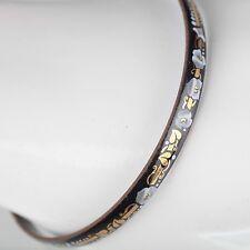 Vintage Emaille Armreif ∅ 6,2 Blumen Schmuck 70er schwarz, gold, grau Armring 21