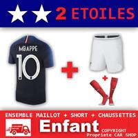 Ensemble maillot Short Chaussette Equipe de France 2 étoiles , N°10 MBAPPE