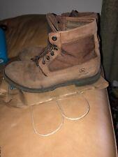 "Vintage John Deere 6"" Steel Toe Boots MEN 9.5 wide Brown safety boots"