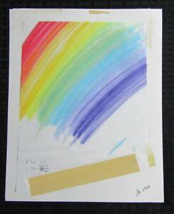 "MERRY CHRISTMAS Colorful Rainbow Design 8.5x11"" Greeting Card Art #6902"