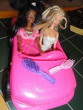 Barbie Convertible Pink Car+ 2 Barbie Doll Figures+Accessories!!