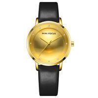 Women's Black Leather Band Gold Analog Dial Watch Luxury Quartz Wristwatch Gift