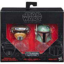 Hasbro Star Wars Black Series Titanium BOBA FETT & LEIA BOUSHH Diecast Helmets