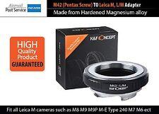 Lens Adapter M42 Pentax Screw TO Leica M L/M mount M5 M6 M7 M8 M9 220 240 Camera