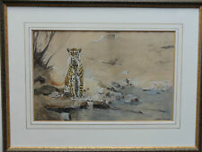 LUDWIG FROMME B1882 FINE ORIGINAL SIGNED PAINTING CHEETAH ON A ROCK BY A RIVER
