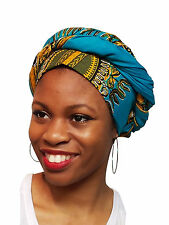 Turquoise African Print Ankara Head wrap, Tie, scarf, 100% Cotton DP3769