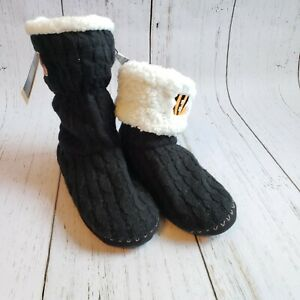 NFL Cincinnati Bengals Womens Black Sweater Bootie Slippers Size L (9-10) NWT