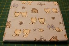 "Handmade  Flannel Receiving / Swaddle blanket~~BABY ANIMALS/LT BLUE~~40"" x 40"""