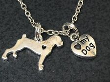 "Dog I Love My Pitbull Charm Tibetan Silver 18"" Necklace"
