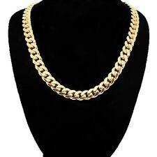 Mens 14k 18K GP Yellow Gold 12mm 24in Italian Cuban Miami Chain Necklace 12 MM