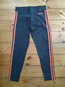 Adidas tight Leggings damen EI0769 Gr. M dkl.grau Streifen pink