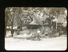 1951 amateur 35mm b/w photo slide Lady by Motorcycle Camp Sequoia CA Souvenirs