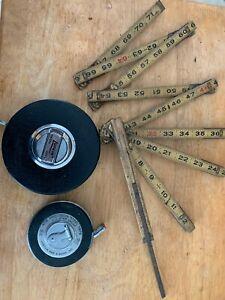 3 Vintage Lufkin Chrome Clad 100 ft and 50 ft Tape Measure HC256