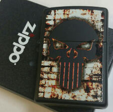 Zippo Lighter Skull Punisher Flaming Wall  Limited Edition Black Case
