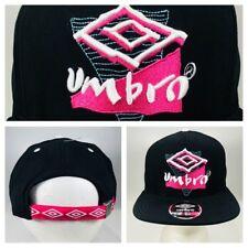 Umbro Soccer Retro Neon Logo Relaxed Fit Black Adjustable Strapback Cap One Size