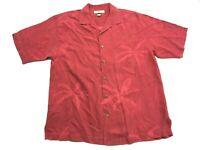 Tommy Bahama Men's Red Floral Hawaiian Short Sleeve Silk Shirt Size Medium
