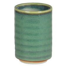 """Japanese 3.75"""" H Porcelain Yunomi Spruce Green Sushi Tea Cup, Made in Japan"""
