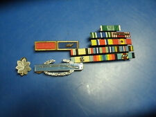 LOT OF 13 RIBBONS , COMBAT INFANTRY BADGE AND RANK