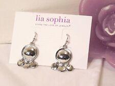 Beautiful Lia Sophia SWIMMING HOLE Dangle Earrings, Silver Toned, NWT