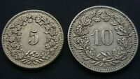 Switzerland 5 & 10 Rappen 1894 Very RARE HIGH GRADE Unclean Swiss aUNC Coin Lot