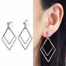 Silver Double Diamond Hoop Invisible Clip on Earrings Dangle Shiny Loop Clip-ons