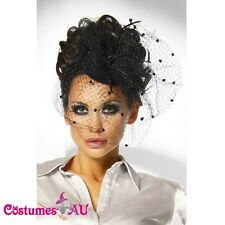 Black Mini Top Hat with feather Burlesque Fascinator