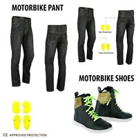 Mens Motorcycle Jeans Pant Reinforced Denim Motorbike Leather Boots Waterproof
